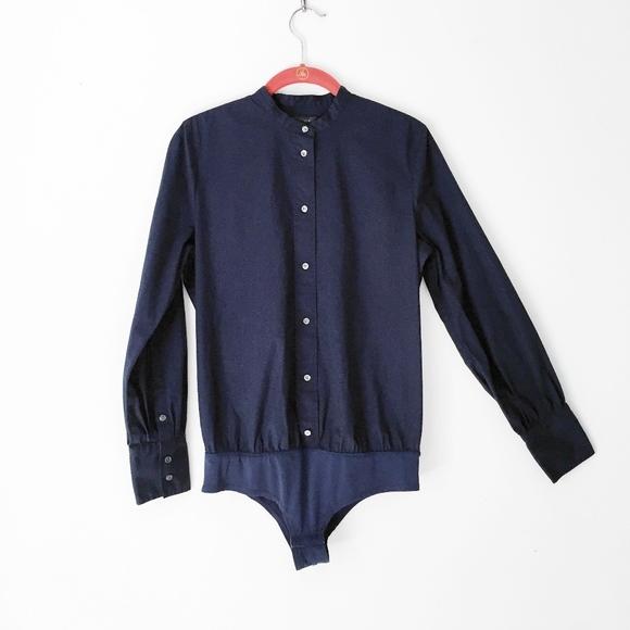 18acb732 J. Crew Tops | J Crew Stretch Perfect Bodysuit Navy Dress Shirt ...